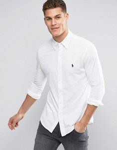 Read more about Polo ralph lauren pique shirt buttondown slim fit in white - white
