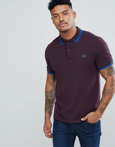 Read more about Fred perry slim fit twin tipped polo shirt in dark red - f25