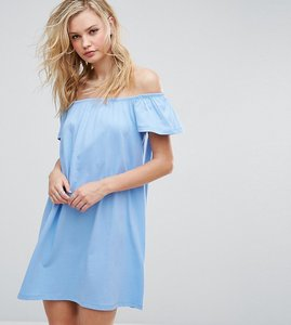 Read more about Asos tall off shoulder mini dress - blue