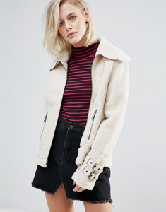 Read more about Pepe jeans ginna exposed faux shearling biker jacket - ecru