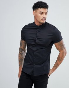 Read more about Asos design skinny shirt with grandad collar in black - black