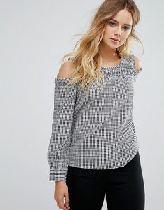 Read more about Only cold shoulder gingham top - multi