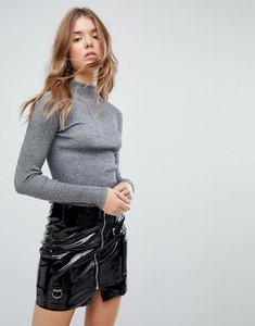Read more about Bershka ribbed turtle neck jumper - grey