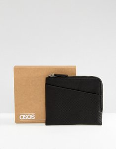 Read more about Asos leather zip around wallet in black with cardholder front perforated - black