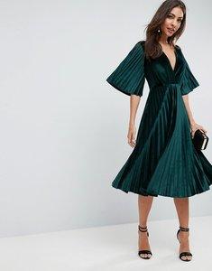 Read more about Asos pleated velvet kimono midi dress - green