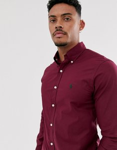 Read more about Polo ralph lauren poplin shirt slim fit button down player logo in burgundy