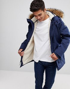 Read more about Hollister all weather parka jacket faux fur hood in navy - navy