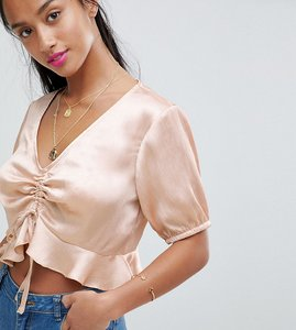 Read more about Fashion union petite tea blouse with balloon sleeves in satin - beige satin