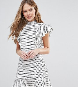 Read more about Closet london ruffle dress in spot print - multi