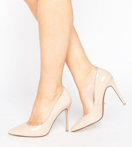 Read more about Dune london wide fit patent court shoes - nude