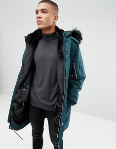 Read more about Asos heavyweight parka with faux fur lining in bottle green - green