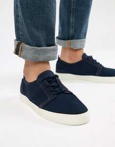 Read more about Asos design lace up plimsolls in navy mesh - navy