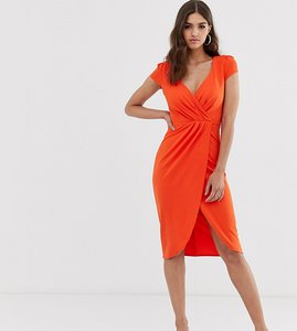 Read more about City goddess tall bardot wrap over pencil midi dress - 1463