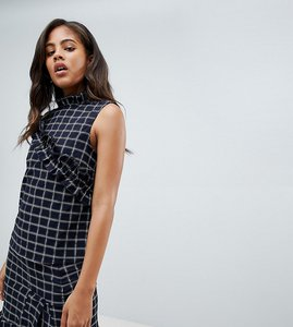 Read more about Y a s tall salu windowpane check ruffle front top - black check