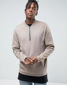 Read more about Asos sweatshirt with half zip kangaroo pocket - brown