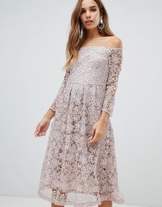 Read more about Dolly delicious bardot all over lace prom midi dress with bell sleeve in mauve - mauve