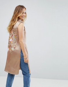 Read more about Glamorous emboridered satin sleeveless shirt - light khaki
