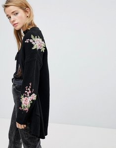 Read more about Pimkie black embroidered shoulder cardigan - black