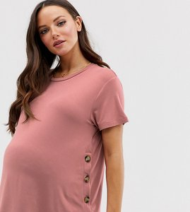 Read more about Asos design maternity nursing t-shirt with button side in dusky pink