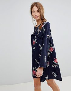 Read more about Qed london floral shift dress with frill - navy
