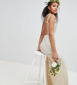 Read more about Amelia rose tall all over embellished cross back maxi dress - nude