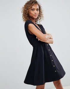 Read more about Asos design mini dress with belt and faux tortoiseshell buttons - black