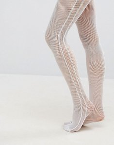 Read more about Asos fishnet side stripe tights in white - white