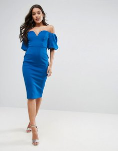 Read more about Asos scuba puff sleeve bardot midi dress - cobalt