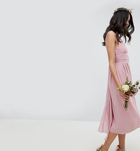 Read more about Tfnc tall wrap front midi bridesmaid dress with tie back - vintage rose