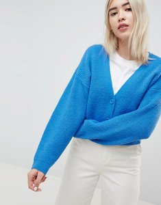 Read more about Asos design eco cropped cardigan in fluffy yarn with buttons - cornflower blue