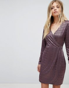 Read more about French connection jacquard detail wrap dress - tyrian rose