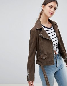 Read more about Lab suede biker jacket in khaki - khaki