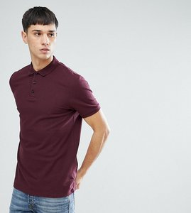 Read more about Asos tall pique polo with button down collar - kidney
