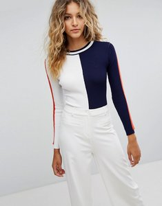Read more about Missguided colour block high neck knitted body - navy