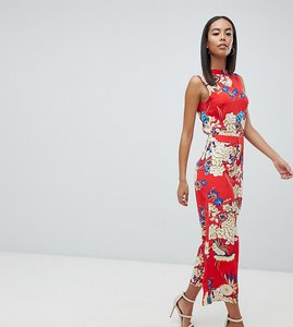 e960ee738165 Read more about Missguided tall open back floral culotte jumpsuit - navy