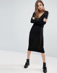 Read more about Asos knit column dress with ladder detail - black