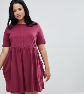 Read more about Asos design curve mini smock dress with pockets and button front - burgundy