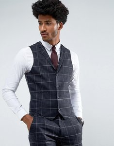 Read more about Asos wedding super skinny suit waistcoat in navy windowpane check with nepp - navy