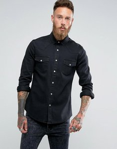 Read more about Asos slim denim shirt with western styling in black - black