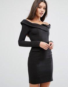 Read more about Lavish alice off shoulder tailored mini dress - black
