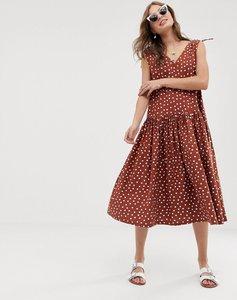 Read more about Asos design v front v back smock dress midi in rust spot