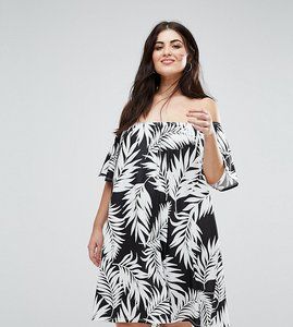 Read more about Asos curve off shoulder sundress in mono palm print - print