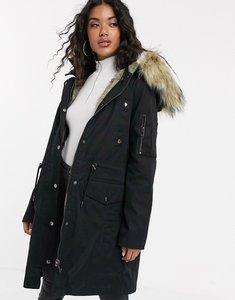 Read more about Asos design parka with detachable faux fur liner - black