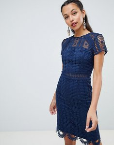 Read more about Chi chi london cap sleeve lace pencil dress - navy