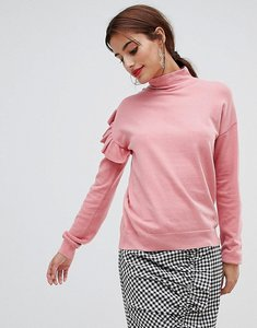 Read more about Na-kd - turtle neck frill sweater - pink