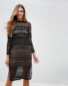 Read more about French connection petra lace midi dress - black