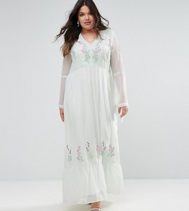 Read more about Frock and frill plus embroidered prairie maxi dress with tie detail - green