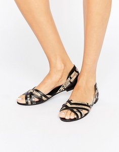 Read more about Asos juza leather summer shoes - black snake