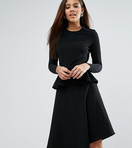 Read more about Asos tall skater midi dress with peplum in structured rib - black