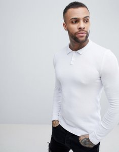 Read more about Asos knitted muscle fit polo shirt in white - white